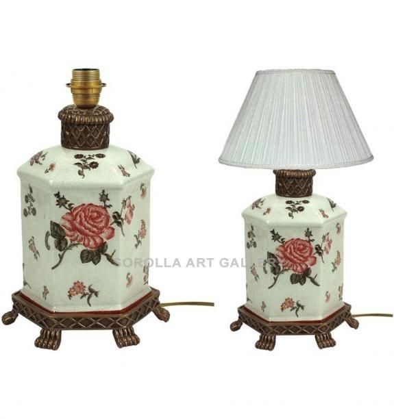 Porcelana decorada: Pie de lámpara 27cm - Rosa