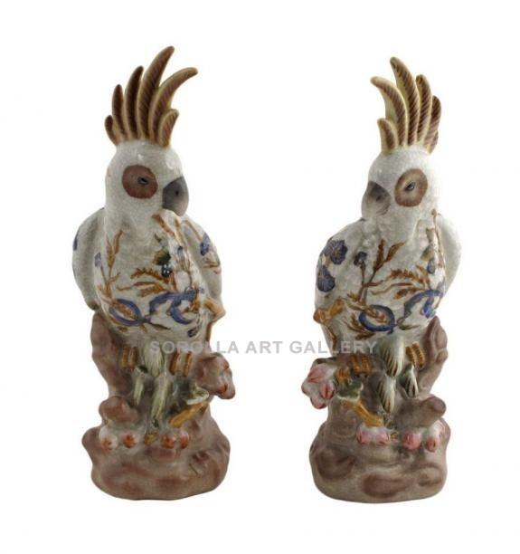 Porcelana decorada: Loro cacatúa (pareja) 22cm - Boreal