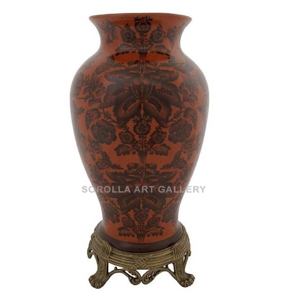 Porcelana decorada: Jarrón 42cm - Carmesí