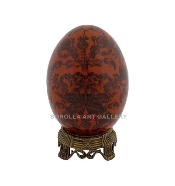 Porcelana decorada: Huevo 19cm + peana - Carmesí