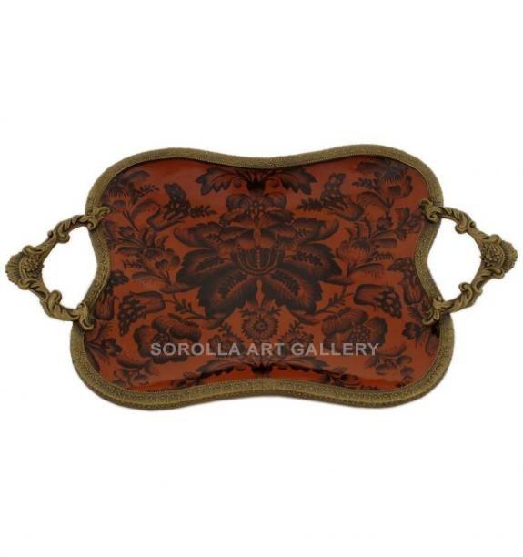 Porcelana decorada: Bandeja 33cm - Carmesí