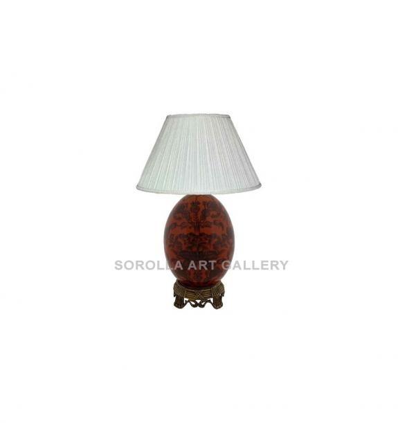 Porcelana decorada: Pie de lámpara huevo 21cm - Carmesí