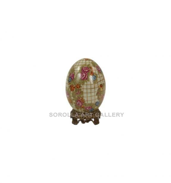Porcelana decorada: Huevo 19cm con peana - Hiedra