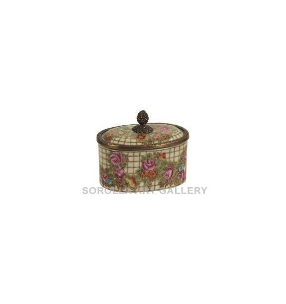 Porcelana decorada: Caja ovalada 13cm - Hiedra