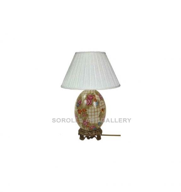 Porcelana decorada: Pie de lámpara huevo 21cm - Hiedra