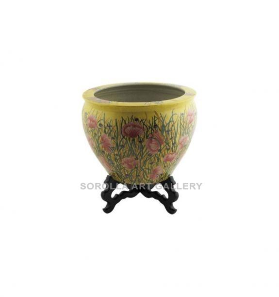 Porcelana decorada: Macetero + peana 31,5cm - Amapola