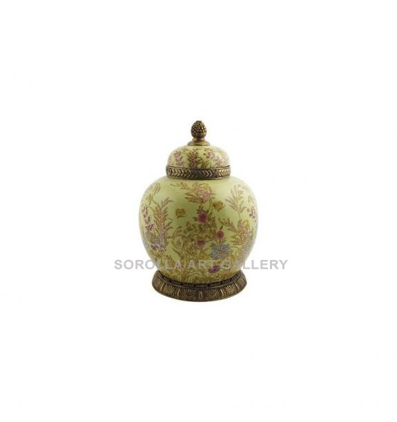 Porcelana decorada: Tibor redondo 33cm - Exotica