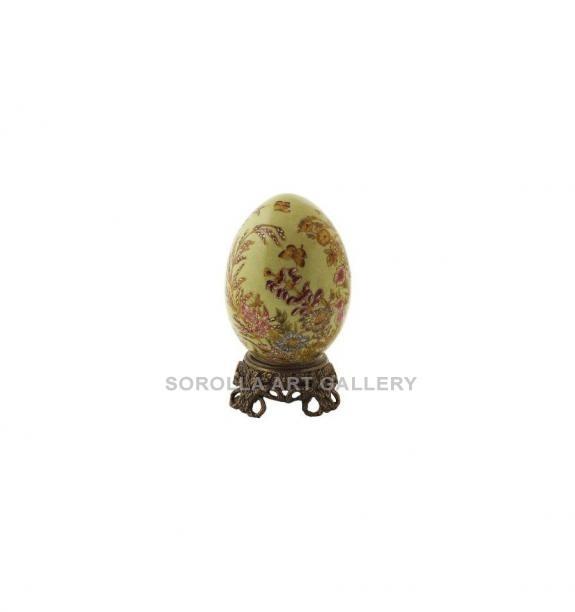 Porcelana decorada: Huevo + peana 13cm - Exotica