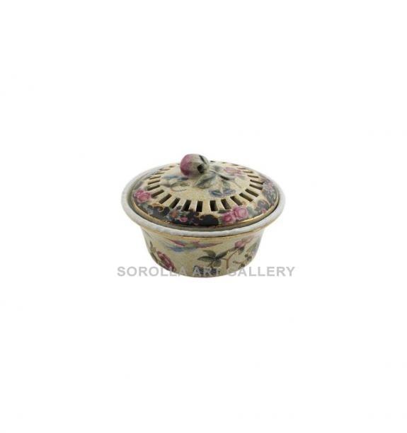 Porcelana decorada: Caja aromática 13cm - Ambrosia