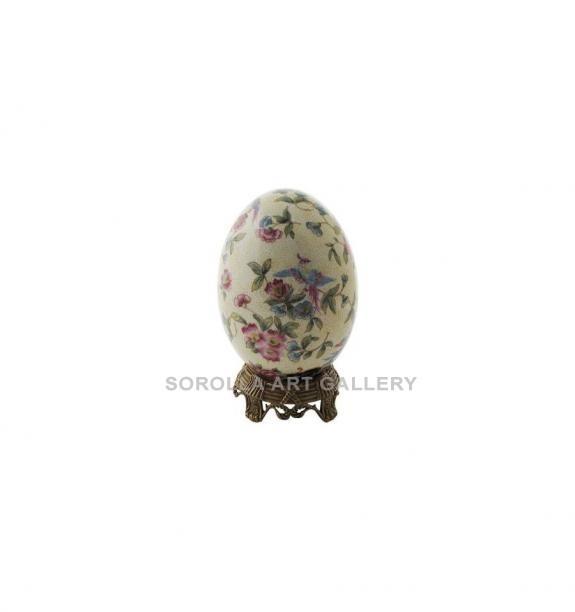 Porcelana decorada: Huevo + peana bronce 19cm - Ambrosia