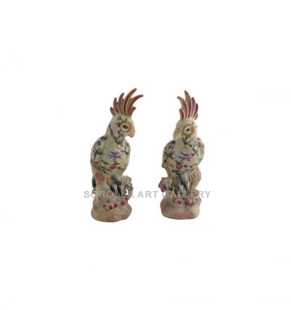 Porcelana decorada: Loro cacatúa pareja 22cm - Ambrosia