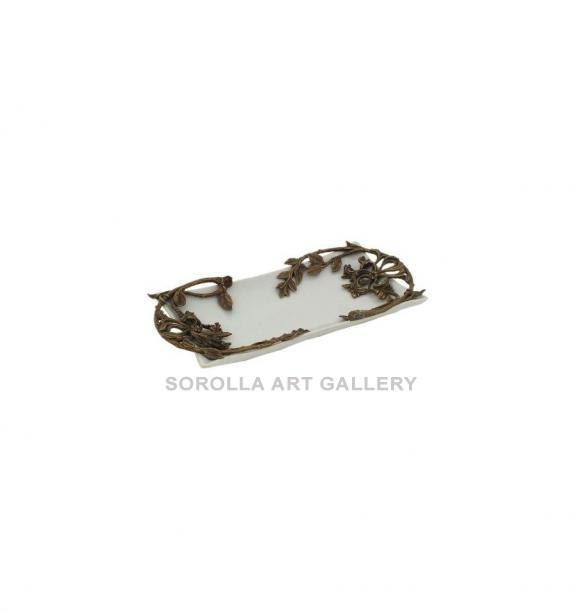 Porcelana decorada: Bandeja media caña 30cm - Blanco