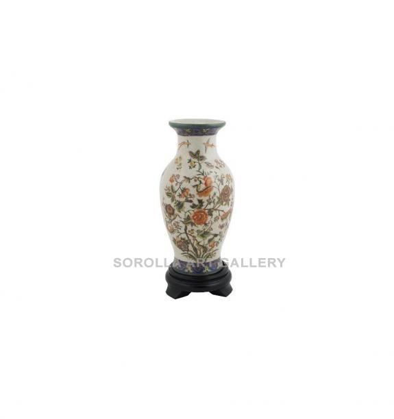 Porcelana decorada: Jarrón + peana 25cm - Milex