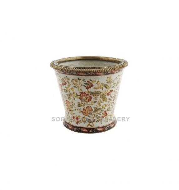 Porcelana decorada: Macetero redondo 23cm - Hiti