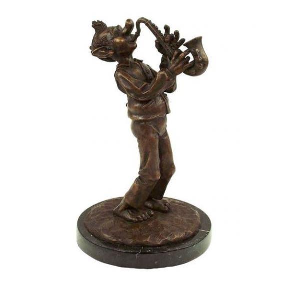 Bronces: Duende con saxofón - 29cm