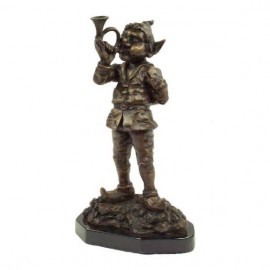 Elf with musical horn - 32cm