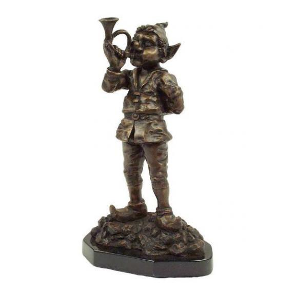 Bronces: Duende con trompa musical - 32cm
