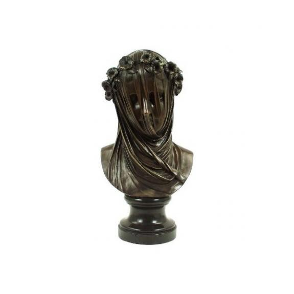 Bronces: Busto de mujer con velo