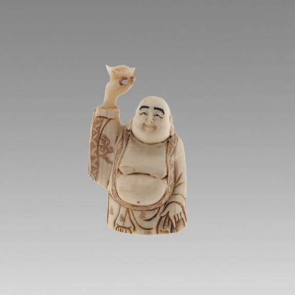 Hueso tallado: Buda de la fortuna - 6,5cm