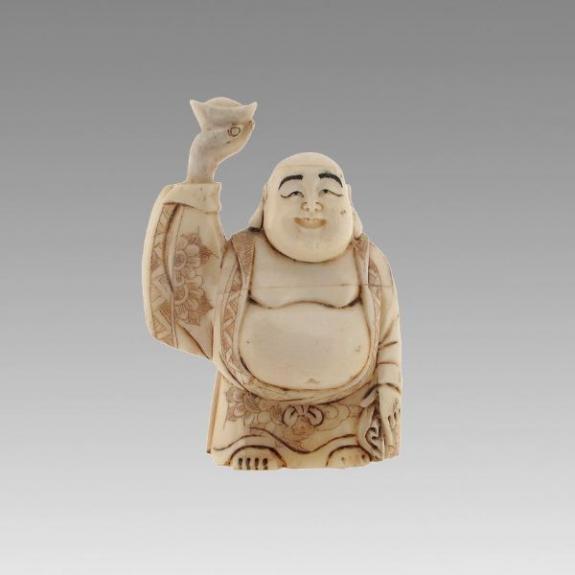 Hueso tallado: Buda de la fortuna - 8cm