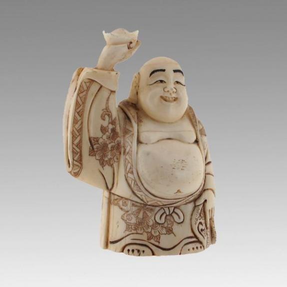 Hueso tallado: Buda de la fortuna - 10cm