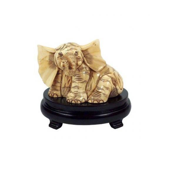 Hueso tallado: Elefante sentado - 16cm
