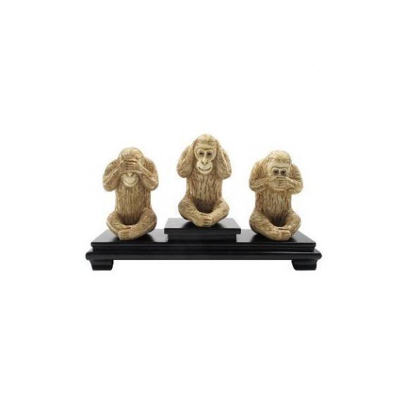 Hueso tallado: Monos de la sabiduría 10cm - Set de 3
