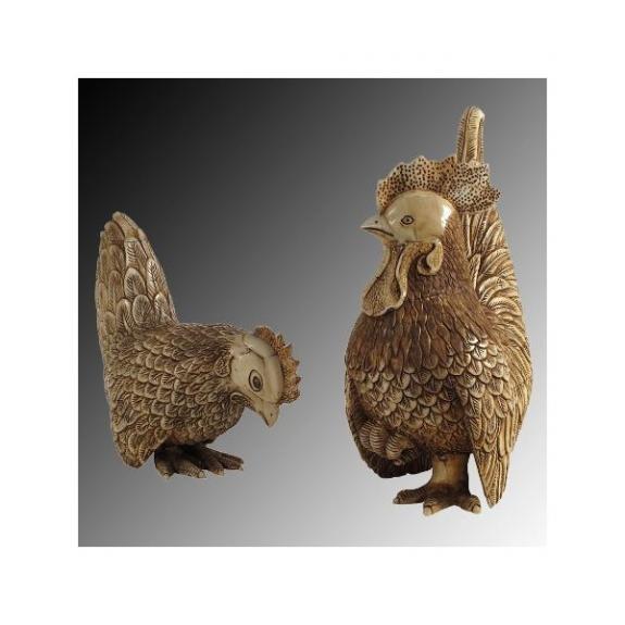 Hueso tallado: Gallo y gallina - 34cm
