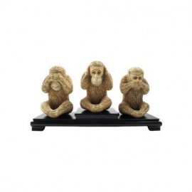 Carved Bone Sculpture: Monkeys of wisdom 15cm - Set of 3