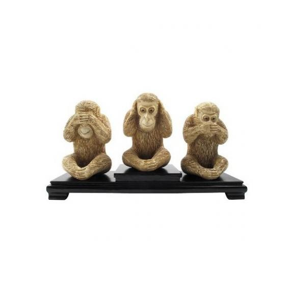 Hueso tallado: Monos de la sabiduría 15cm - Set de 3