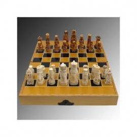 Carved Bone Sculpture: Chess - 39cm
