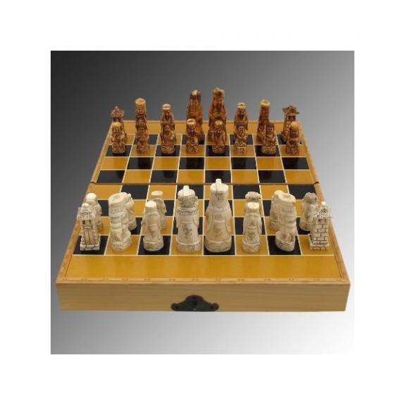 Hueso tallado: Juego de ajedrez - 39cm