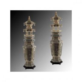 Carved Bone Sculpture: Tower vases 62cm (pair)