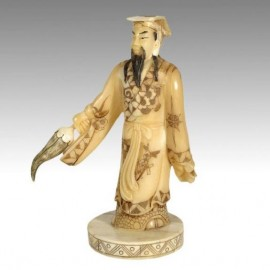 Carved Bone Sculpture: God with flame and sword 19cm