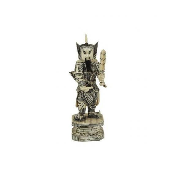 Hueso tallado: Guerrero con espada china 24cm