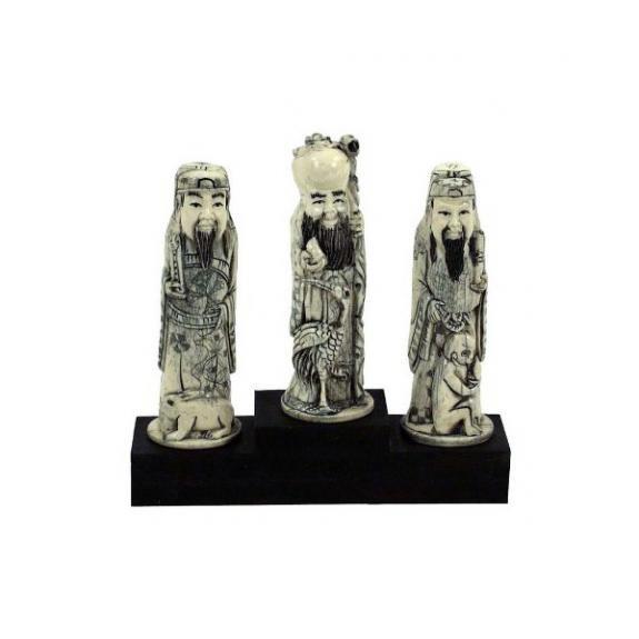 Hueso tallado: Tres dioses 14cm