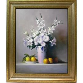 Bodegon flores y frutas