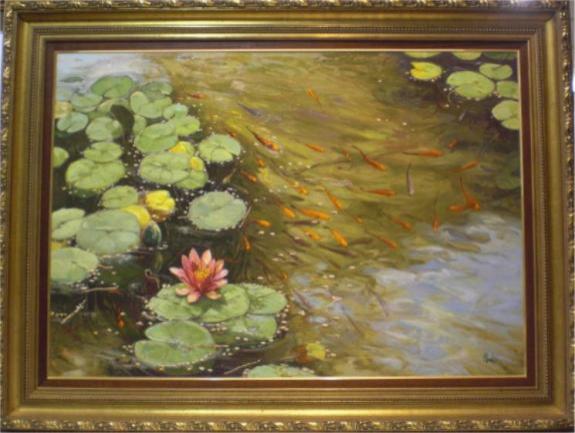 Manuel leal estanque con peces venta de cuadros en la - Cuadros con peces ...